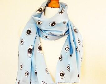 Digitally printed, pure silk scarf, hand-rolled hem