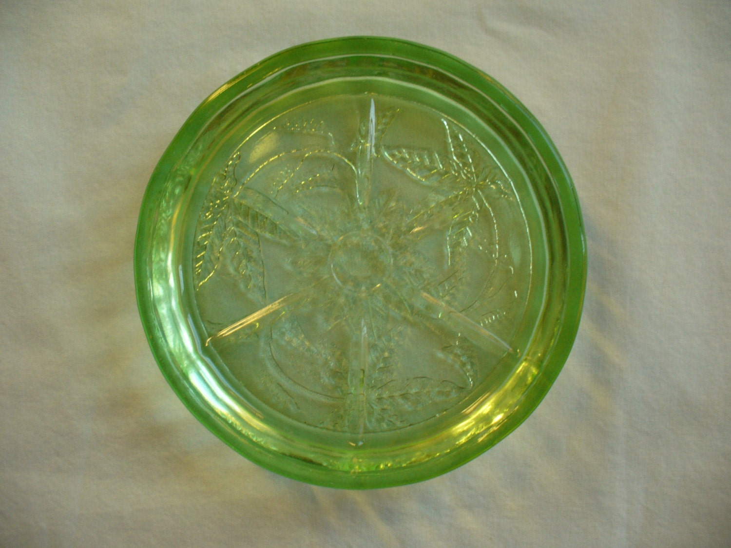 Green Depression Glass Coaster Poinsettia Pattern