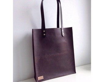 Large Minimalist Raw Stone Oil Leather Tote Bag with Vegetable Tanned Handles and Brass Hardware