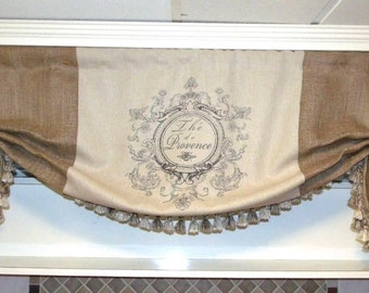 Custom Made Large French Country Th'e de Provence Linen And Burlap Valance