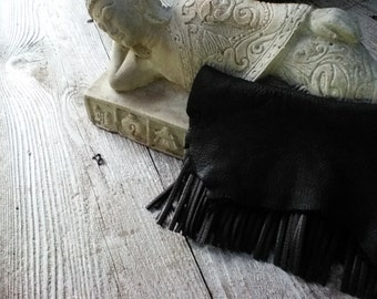 Raven black leather fringe clutch