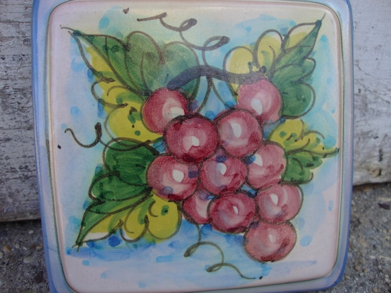 Vintage Fruit Wall Decor : Items similar to vintage vietri grape fruit wall plaque