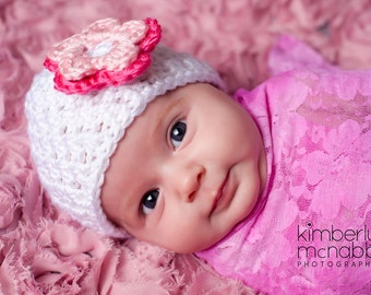 Baby Girl Hat, Ready to Ship, Toddler Girl Hat, Baby Shower Gift, Crochet Baby Hat, Baby Girl Beanie, White Pink, Photo Prop, Newborn Hat
