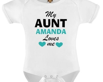 Funny Baby Bodysuit T-shirt Baby Child Infant Romper My Aunt Loves Me Personalized Baby Vest Toddler Tee