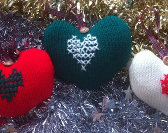 Knitted Christmas Hearts