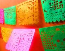 Papel Picado banner 18 feet long, colorful paper or plastic banner bunting garland LARGE, fiesta decor, Mexican party, Day of the Dead