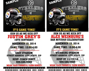 Printable Birthday Party Invitation Card Pittsburgh Steelers Birthday Ticket Invitation Football Weddings Baby Showers Bar Mitzvahs