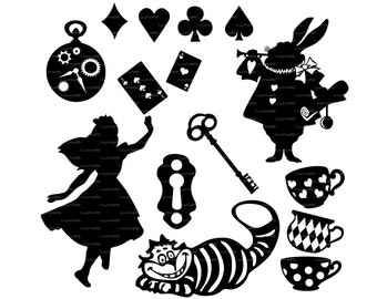 Alice in Wonderland Vectors Overlay (svg, dxf, ai, eps, png) Wall Decor Decal Vinyl, Diecutting, Cameo Silhouette, Cricket EasyCutPrintPD