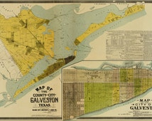 24x36 Poster; Map Of The County & City Of Galveston Texas 1891
