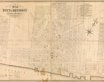 24x36 Poster; Map Of The City Of Detroit Michigan 1835