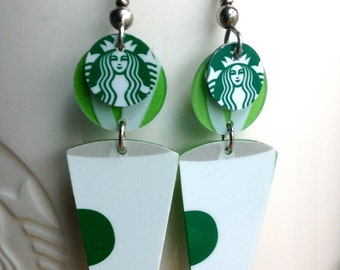Whimsical coffee cup with steam earrings, recycled starbucks gift card earrings
