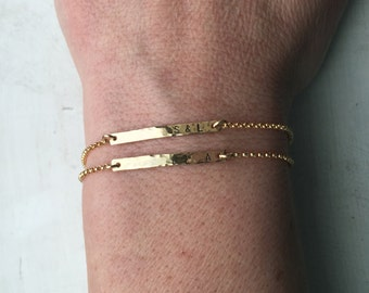 Skinny Dainty Gold Bar Bracelet, Personalized Bar Jewelry, Simple Everyday, Thin Initial Layering Bracelet, Hand Textured Bar