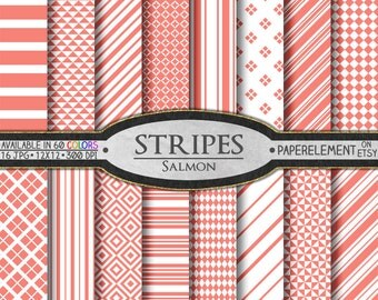 Salmon Striped Digital Paper Pack - Geometric Paper with Diamonds and Stripe Patterns for Digital Scrapbooking