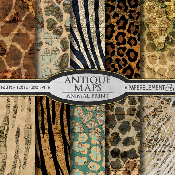 Antique Map Printable Paper: Old World Maps Scrapbook ...