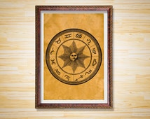 Zodiac print Occult poster Esoteric decor