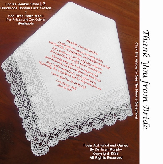 Writing A Wedding Gift Check : Thank you Gift Wedding Handkerchief to your friend 0906 ~ 5 Hankie ...