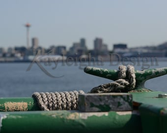 Nostalgia Seattle Ferry Skyline Space Needle View Metallic Fine Art Photo Print
