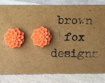Orange resin dahlia flower stud earrings