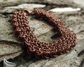 Antique Copper Chainmaille Cuff   Chainmaille Bracelet - Chunky Copper Bracelet - Coyote Maille - Unisex Bracelet - Steampunk Bracelet