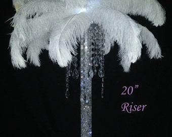 Ostrich Feather Teardrop Dangle Chandelier with Riser Centerpiece