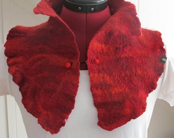 felted collar, red, Merino Wool