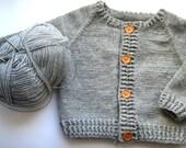 Hand Knit Baby Sweater, Crochet Baby Sweater, Baby Knitted Sweater, Handmade Children Clothing, Grey Baby Sweater