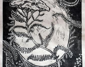 White Yarrow Print Linocut Original Plant Art - Black and White 8x10 on Handmade Paper - Achillea millefolium