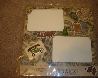 Premade 12x12 Scrapbook Page - OUTDOORS/HIKING/TRAILS