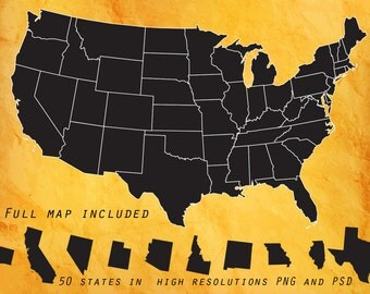 Us State Etsy - Full map of usa states