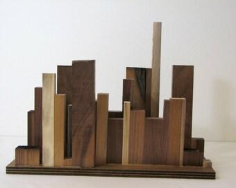 Wood Art - Cityscape in Walnut