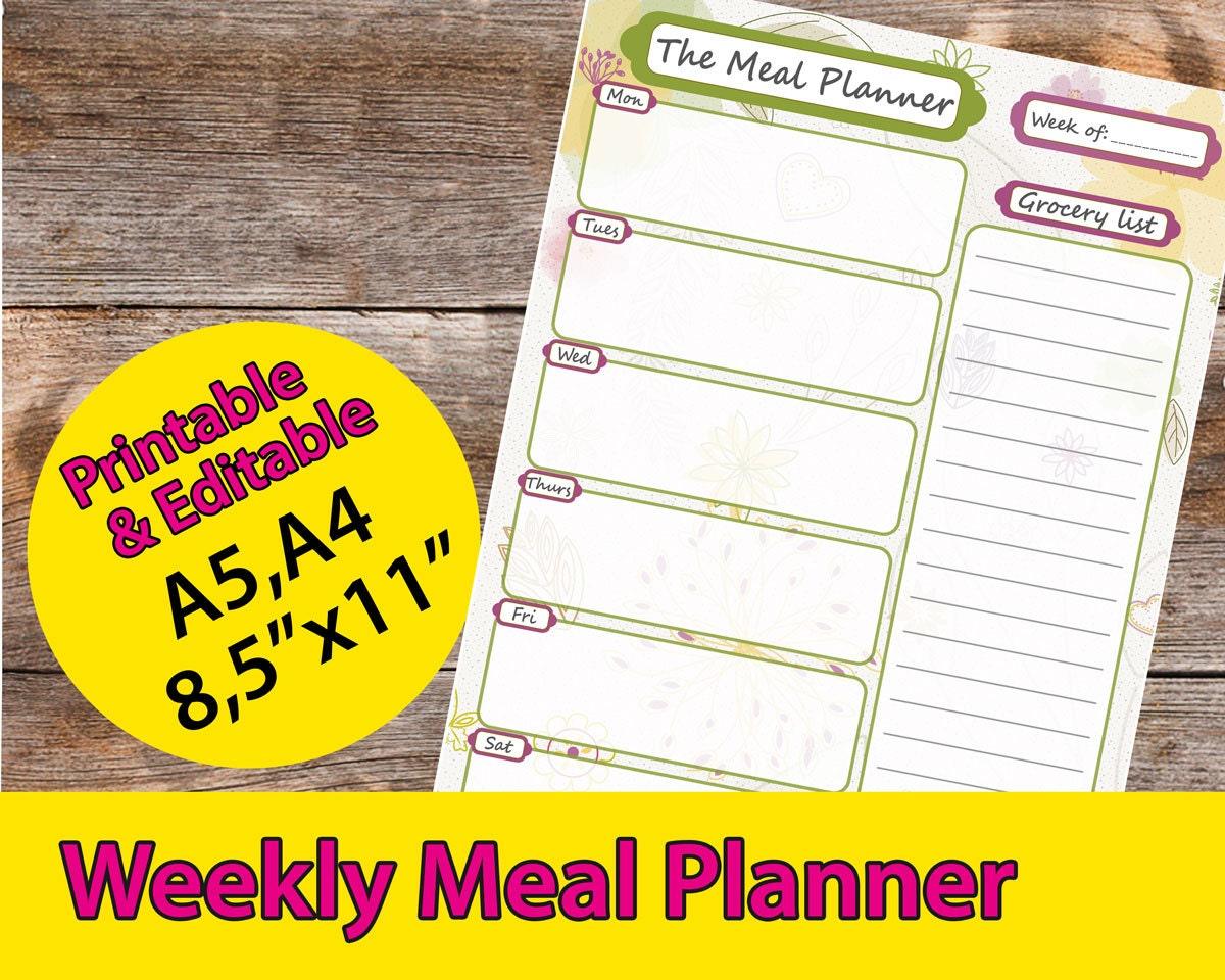 Editable Meal Planner Calendar : Meal planner plan printable editable