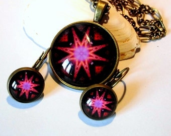 Cabochon pink black set necklace earrings star