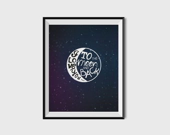INSTANT DOWNLOAD Printable Quote I Love You To The Moon And Back Quote Digital Poster Print