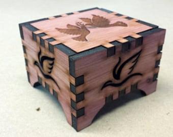 "Cedar ""dove"" engraved Music Box"