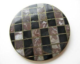 Shell pendant, inlaid shell, 2 1/2 inch diameter - #93