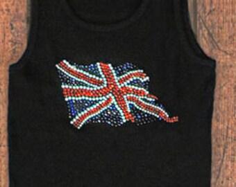 British Flag Shirt - Rhinestone Flag on Fitted Tank Top