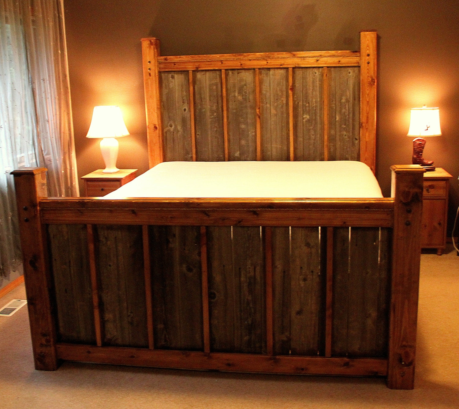 Custom rustic wood bed frame headboard by rusticranchoutfitter Rustic bed frames