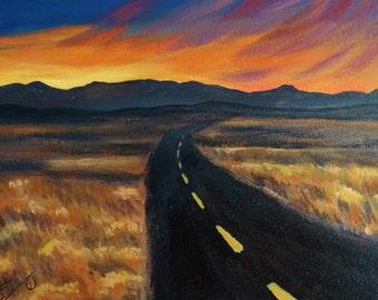 Desert Road into the Sunset - Original Acrylic Painting