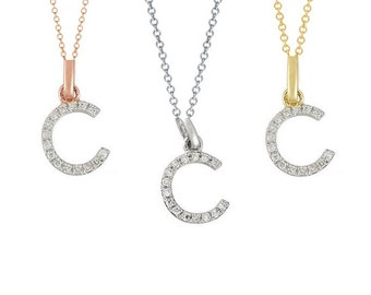 Tousi Jewelers Diamond Letter Necklace - C Alphabet Pendant -Solid 14K Gold- Gold Letter Necklace- 0.08 CT White Color Stone-Initial Jewelry