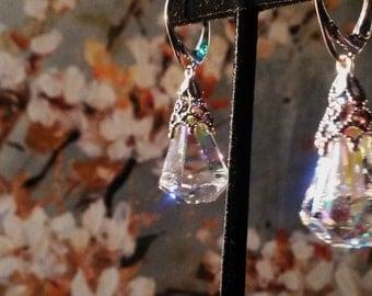 Swarovski Crystal earrings with silver design, Leverback earrings