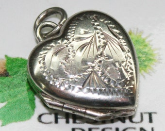 Vintage 1970's Hallmarked Silver Heart Shaped Locket or Charm,