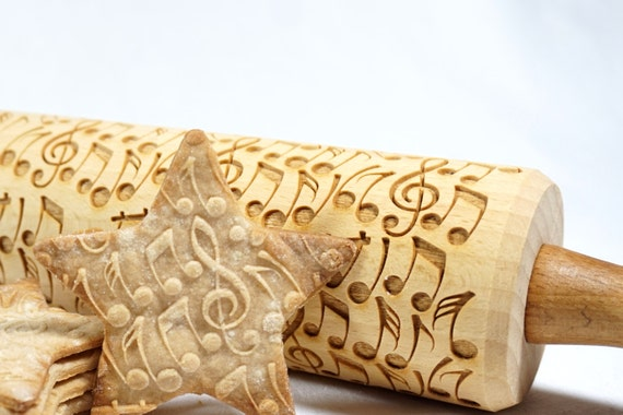 Crazy Notes Embossed Engraved Rolling Pin For Cookies