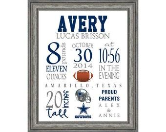 Birth Stat Dallas Cowboys Football Sports Art Print 8x10 digital file - pick your team!