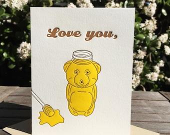 Love you, Honey Bear letterpress card