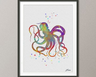 octopus Print octopus watercolor octopus art octopus poster Gift Poster Wall Hanging Wall Decor for children watercolor print  No.A027