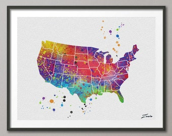 Watercolor Map painting watercolor american map print colorful map decor wall hanging map decor world map painting map art watercolor A040