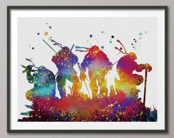 Teenage Mutant Ninja Turtles poster Ninja Turtles watercolor decor wall hanging Ninja Turtles gift  wall art decor children gift A047-5