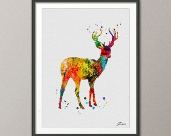 deer Print deer watercolor deer art deer poster Gift Poster Wall Hanging Wall Decor deer for children  deer watercolor print  No.A018