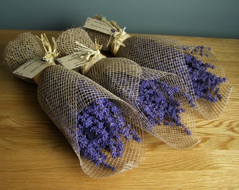 3 x Lavandula angustifolia (Folgate) dried blue Kentish lavender flower bunches hessian gift wrapped appox 200stems bunch bedroom or hanging