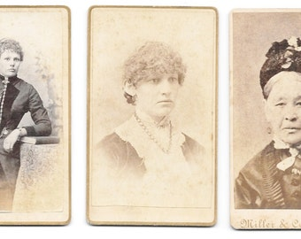 3 Antique CDV Photographs - Ladies From Rock Island, Illinois - Photographers John Siegmund and Miller & Co.